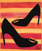High Heeled Painting Framed Prints - Chaussures de lete  Framed Print by Cecely Bloom