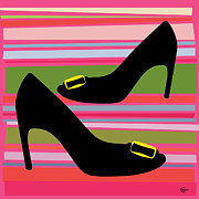 High Heels Abstract Art Framed Prints - Chaussures en Amour Framed Print by Cecely Bloom