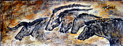 Cave Wall Prints - Chauvet Cave Auroch and Horses Print by Beverly  Koski