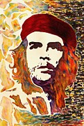 Contemporay Framed Prints - Che Guevara original watercolor Framed Print by Georgeta Blanaru