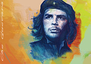 Skylines Mixed Media Acrylic Prints - Che Guevara Stylised modern drawing art sketch Acrylic Print by Kim Wang