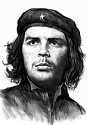 Featured Portraits Framed Prints - Che Quevara art drawing sketch portrait  Framed Print by Kim Wang