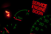Odometer Posters - Check engine light Poster by Gunter Nezhoda