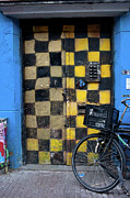 Checks Posters - Checked Pattern Painted Door in Amsterdam Poster by Artur Bogacki