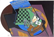 REPRODUCTION - Checkerboard and playing cards