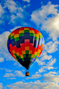 Balloon Aircraft Prints - Checkerboard Hot Air Balloon Print by Robert Bales