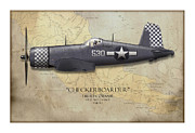 Wing Digital Art Prints - Checkerboarder F4U Corsair - Map Background Print by Craig Tinder