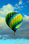 Balloon Aircraft Prints - Checkered Balloon Print by Robert Bales