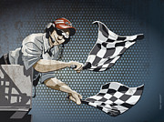 Checkered Flag Grunge Color Print by Frank Ramspott