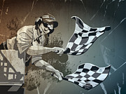 Motor Art - Checkered Flag Grunge Monochrome by Frank Ramspott
