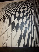 Checkered Drawings - Checkered In Progress by Robert Vogt