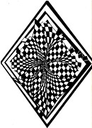 Checkered Drawings - Checkered Twist by Robert Vogt