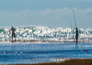 Fishing Rods Metal Prints - Checking the line Metal Print by Constance Fein Harding