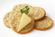 Cheese Photo Posters - Cheddar Cheese and Crackers Poster by Colin and Linda McKie