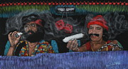 Cities Tapestries - Textiles - Cheech and Chong Black Velvet Painting by Diane Bombshelter