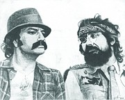 American Drawings - Cheech and Chong by Jeff Ridlen