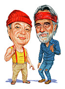 Caricature Painting Framed Prints - Cheech Marin and Tommy Chong as Cheech and Chong Framed Print by Art