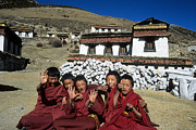 Tibetan Buddhism Metal Prints - Cheeky Monks Metal Print by James Brunker