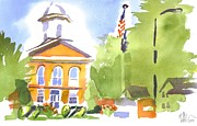 Evening Painting Framed Prints - Cheerful Day at the Courthouse Framed Print by Kip DeVore