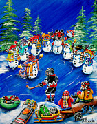 Pond Hockey Paintings - Cheering Section by Jill Alexander