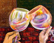 Wine Glasses Mixed Media Prints - Cheers Print by Debi Pople