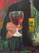 Pouring Wine Painting Prints - Cheers Print by Reba Baptist