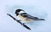 Chickadee Art - Cheery Chickadee Stops By by Andrea Flint Lapins