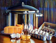 Life Pastels Acrylic Prints - Cheese and Pot Acrylic Print by JAXINE Cummins