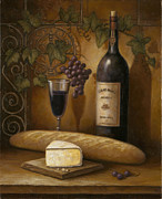 Wine-glass Paintings - Cheese and Wine by John Zaccheo