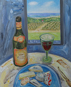Kitchen Saint Posters - Cheese and Wine Ramatuelle. Poster by Agnieszka Praxmayer