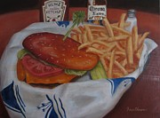 Fries Paintings - Cheeseburger in Paradise by Gary  Faulkner