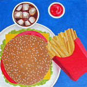 Fries Paintings - Cheeseburger by Toni Silber-Delerive