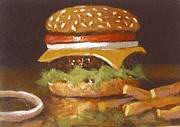 Fries Painting Framed Prints - Cheeseburger With Fries Framed Print by William McLane