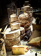 Cheeses Photo Posters - Cheeses on the market in France Poster by Elena Elisseeva