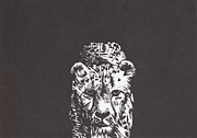 Lino Mixed Media Posters - Cheetah Poster by Alexis Sobecky