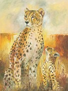 Cheetah Painting Framed Prints - Cheetah and The Cub Framed Print by Christiaan Bekker