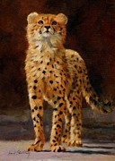 Cheetah Painting Posters - Cheetah Cub Poster by David Stribbling