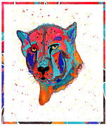 Lion Illustrations Posters - Cheetah face Poster by Martin Hardy