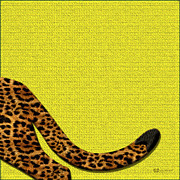 Cheetah Digital Art - Cheetah Furry Bottom on Yellow by Serge Averbukh