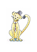 Yellow Drawings Framed Prints - Cheetah in a Top Hat Framed Print by Christy Beckwith