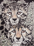 Cheetah Drawings Framed Prints - Cheetah Pair Framed Print by Annie Seddon
