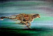 Cheetah Painting Posters - Cheetah Run 2 Poster by Nick Gustafson