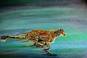 Cheetah Painting Framed Prints - Cheetah Run Framed Print by Nick Gustafson