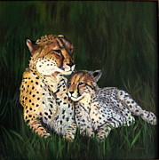 Lavonne Hand Framed Prints - Cheetahs Framed Print by LaVonne Hand