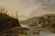 Water Flowing Painting Posters - Cheevers Mill on the St. Croix River Poster by Henry Lewis