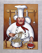 Spaghetti Painting Framed Prints - Chef 4 Framed Print by John Zaccheo