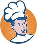 Chef Hat Framed Prints - Chef Cook Baker Retro Framed Print by Aloysius Patrimonio