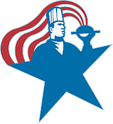 Chef Hat Prints - Chef Cook Baker Serving Hot Food Stars Stripes Print by Aloysius Patrimonio