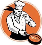 Chef Hat Prints - Chef Cook Cooking Pan Circle Print by Aloysius Patrimonio