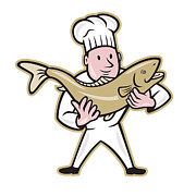Handling Framed Prints - Chef Cook Handling Salmon Fish Standing Framed Print by Aloysius Patrimonio